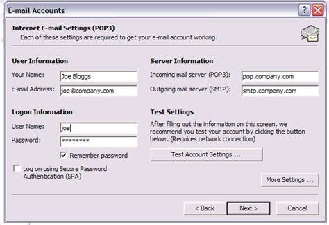 configure xp mail server configuring outlook 2000 xp 2003 for popfile popfile