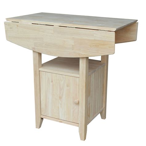 Unfinished Bistro Table Unfinished Dual Drop Leaf Bar Height Bistro Table With Storage International Concepts