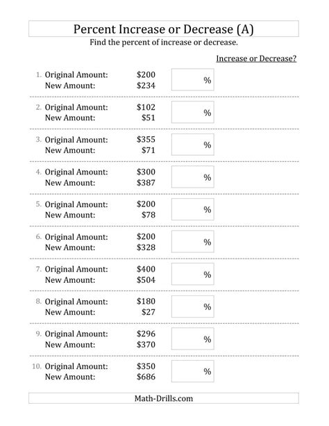 Percentage Worksheets Grade 7 by New 2014 12 11 Percent Increase Or Decrease Of Dollar