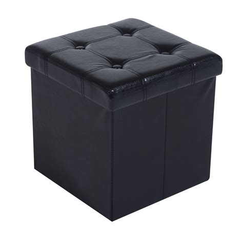 folding storage ottoman rectangle homcom 15 quot folding tufted square storage ottoman black