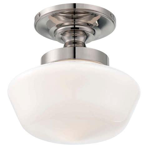 semi flush mount kitchen lighting minka lavery 1 light polished nickel semi flush mount