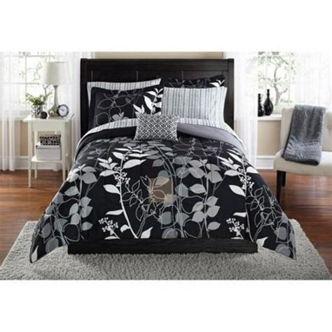 Black Grey Bedding Sets Size Black Grey Comforter Set Reversible Leaf Pattern 8 W Sheets Ebay