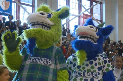 the backyard goat hartford yard goats unveil mascots chompers and chew chew connecticut public radio