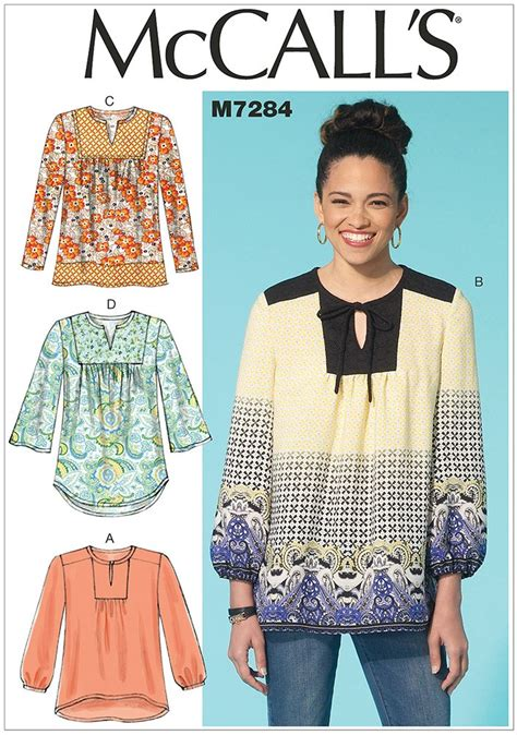 misses tops mccalls sewing pattern 7284 sew essential