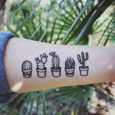 Minimalist Coffee Mug Potted Cactus Temporary Tattoos Succulent House Plants
