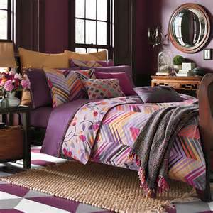 Reversible purple chevron amp floral bedding set