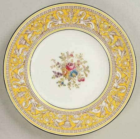 Floy Set Silver wedgwood florentine yellow band flower center at replacements ltd