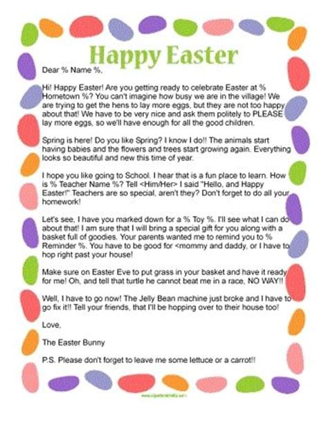 printable easter letters letter from the easter bunny 12 95 letter from the