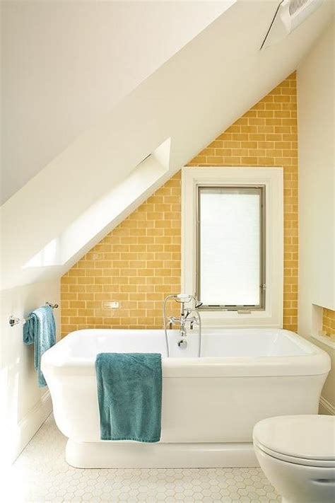 yellow tile bathroom ideas yellow subway tile contemporary bathroom renewal