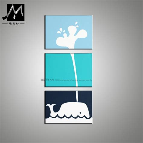 3 panel abstract modern canvas wall handmade blue fish