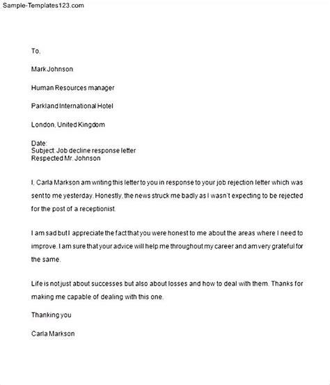 Decline Complaint Letter Decline Response Letter Sle Templates