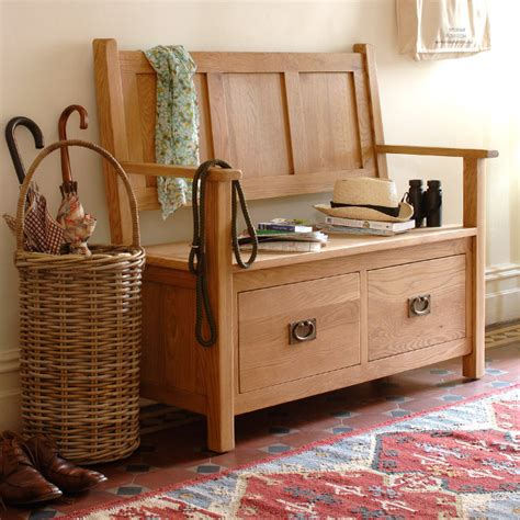 oak hall bench with storage solid wood hallway storage benches