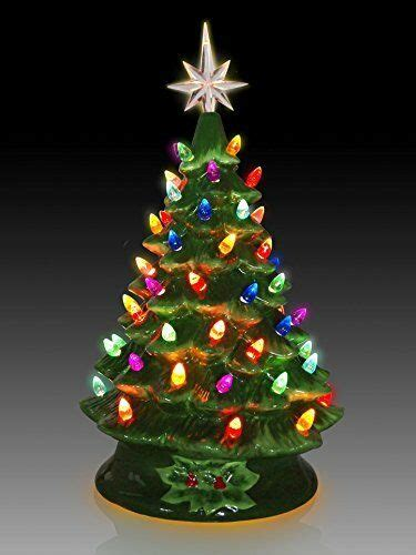 tabletop christmas tree with led lights tabletop ceramic lighted green tree ebay