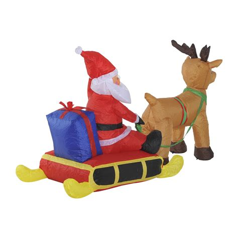 homcom 4ft inflatable santa claus sleigh with reindeer