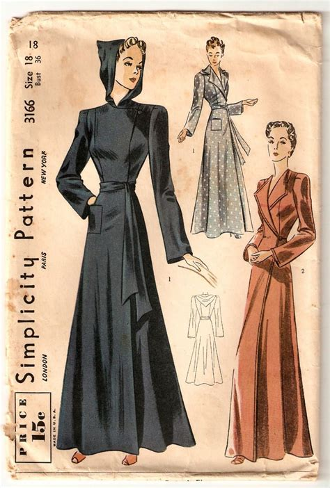 sewing pattern robe wartime 36 inch bust vintage sewing pattern hooded robe