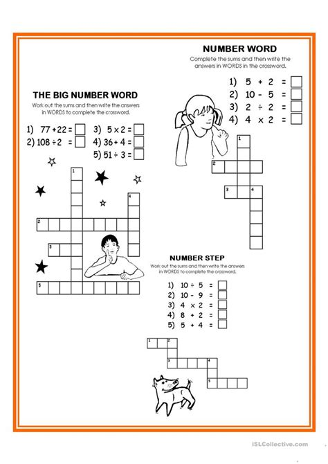 printable number puzzles elementary numbers crossword worksheet free esl printable