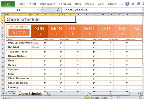 house chore schedule template family with seven