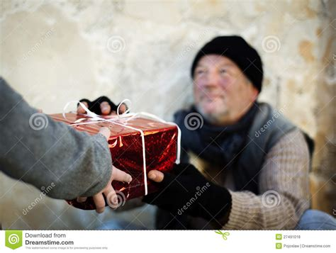 christmas gift for homeless man stock photo image 27491018