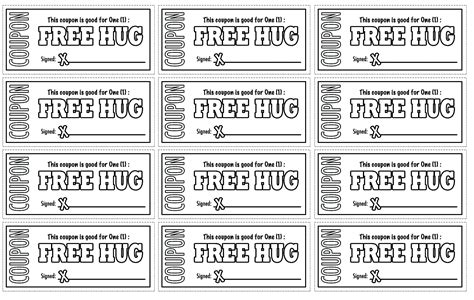 printable free hug coupons coloring pages free coloring