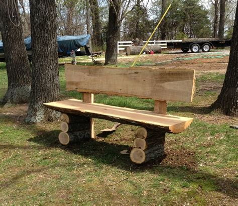 how to make benches out of logs wood slab bench by kelsky lumberjocks com