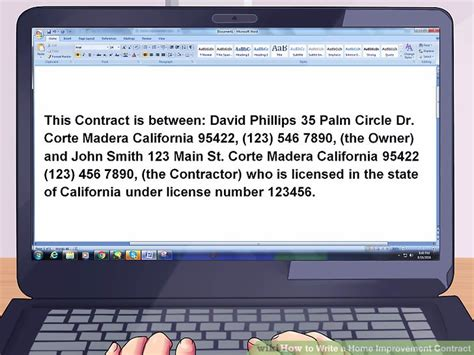 how to write a home improvement contract with pictures