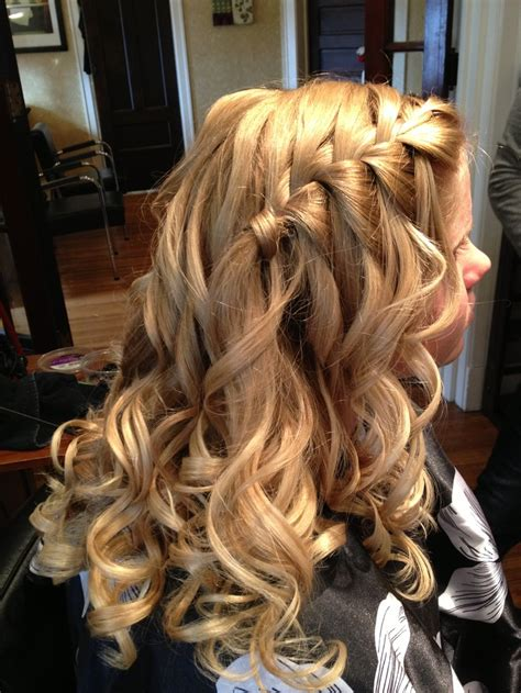 homecoming hairstyles waterfall braid homecoming hair waterfall braid with curls hair