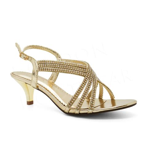 Strappy Wedding Shoes by Womens Diamante Prom Sandals Low Kitten Heel