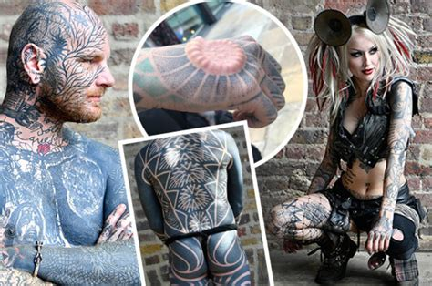 london tattoo festival turns extreme  body mod addicts implant silicone  skin daily star