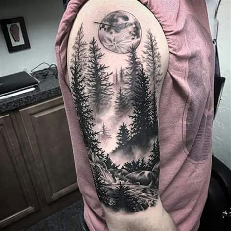 black and grey forest tattoo image result for black and grey landscape tattoos tattoo