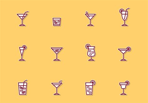 cocktail icon vector cocktail thin line icons download free vector art stock