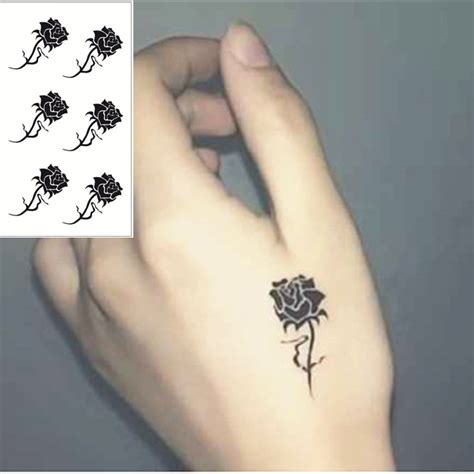 aliexpress com buy shnapign black rose flash tattoo hand