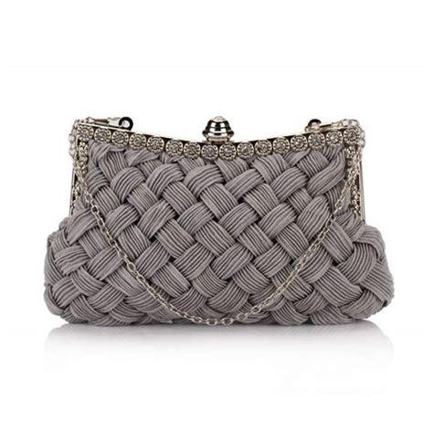 grey pattern handbag weaving threads pattern with rhinestone floral decorations