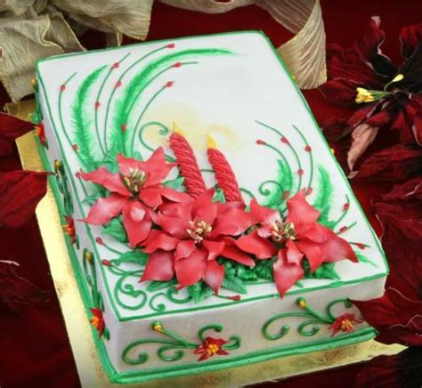 sheet cakes christmas decorated pictures poinsettia cake