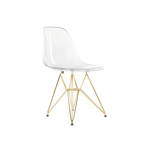 dsr plastic molded eiffel dining chair gold legs  clear seat decor clear dining chairs