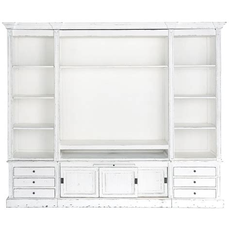 biblioth 232 que meuble tv en bois massif ivoire l 264 cm
