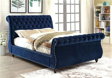 upholstery fabric beds noella cm7128nv luxury bed in navy fabric upholstery