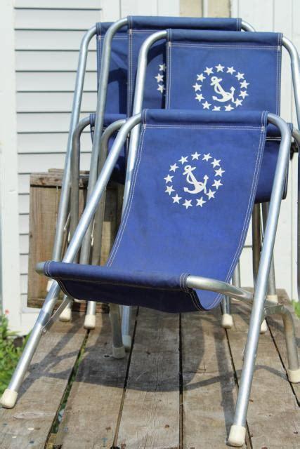 Canvas Deck Chairs - vintage deck chairs canvas seat folding aluminum lounge