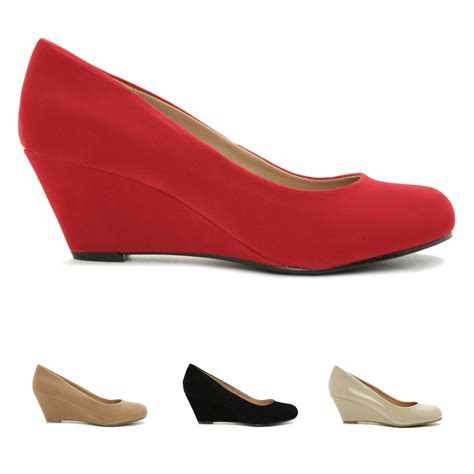 new womens wedge heel court shoes size ebay