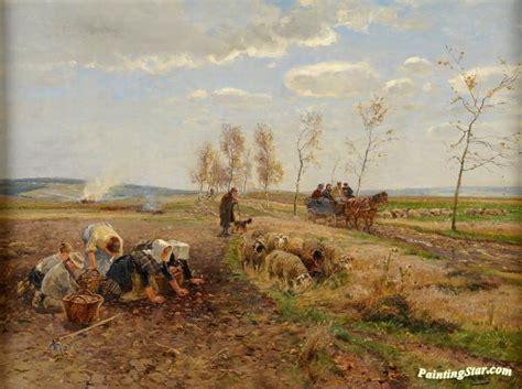 potato harvest artwork  hugo muhlig oil painting art