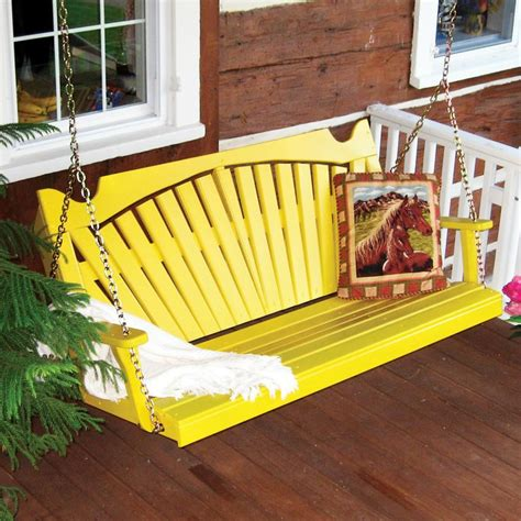 porch swing colors have to have it a l furniture yellow pine fan back