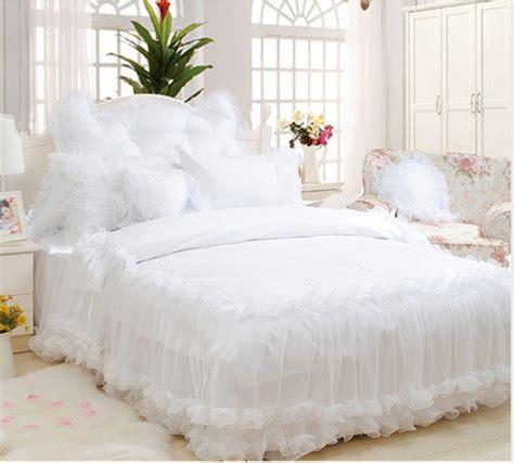 white lace comforter korean white lace jacquard satin bedding set luxury 4pcs