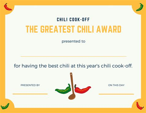 chili cook award certificate template chili cook insider another free invite scorecard