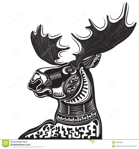 vector illustration of wild totem animal moose stock