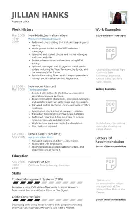 Resume Exles For Journalism Majors Journalism Resume Sles Visualcv Resume Sles Database