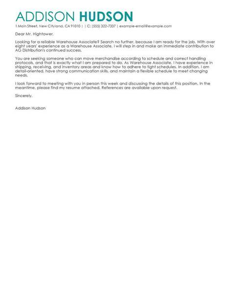 cover letter for warehouse warehouse associate cover letter sle cover letters