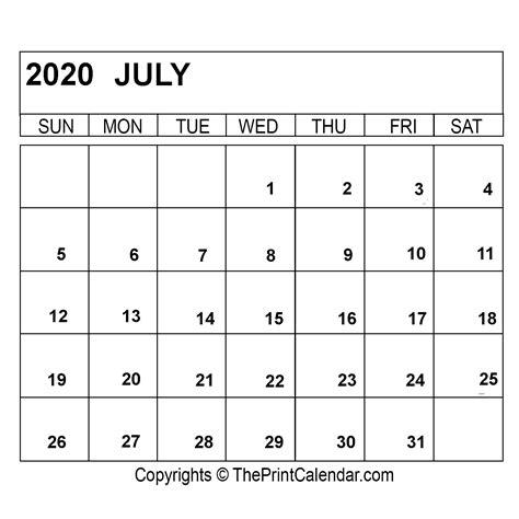 july  printable calendar template  word excel