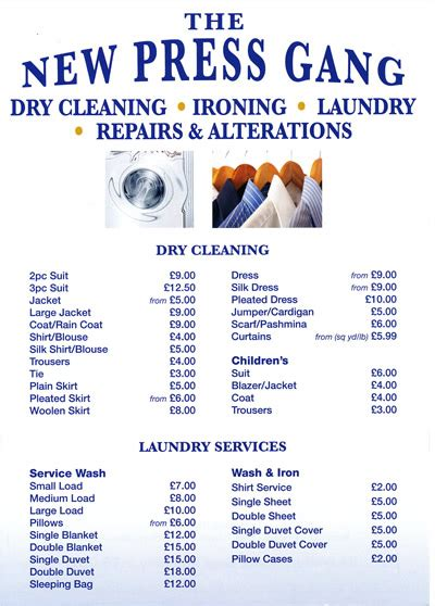 Our dry cleaning prices   East Molesley & Barnes