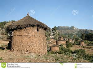 Adobe House Plans traditional african homes in lallibela ethiopia stock