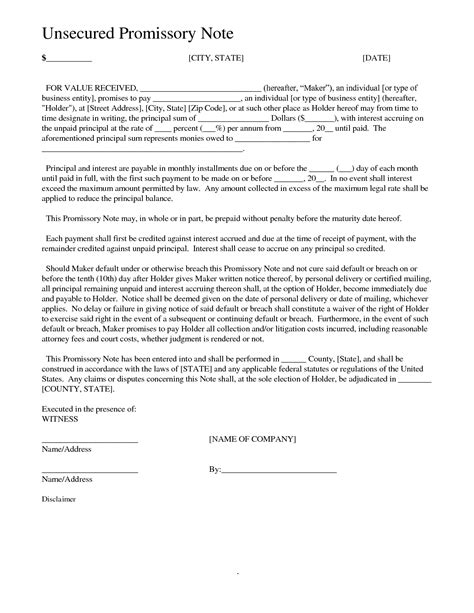 unsecured promissory note template best photos of simply worded promissory note template
