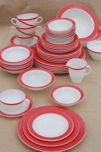 Mug Corning House Bread vintage pyrex flamingo pink border milk glass dishes